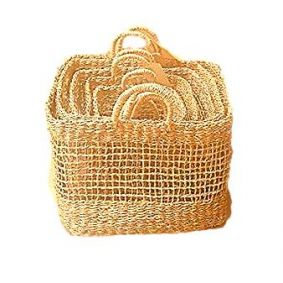 NEW!! COMING SOON Seagrass Open Weave Square Baskets in a Set of 5