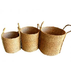 NEW!! COMING SOON Seagrass Cylinder Seagrass Baskets in a Set of 3