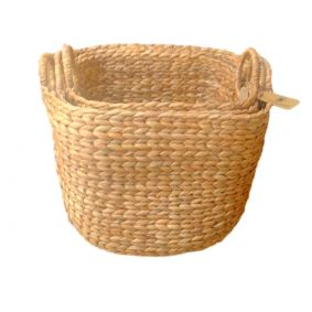 NEW!! COMING SOON Water Hyacinth Natural Square Storage Baskets in a Set of 3