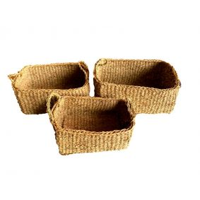 NEW!! COMING SOON Rectangle Seagrass Basket with Handles Set of 3
