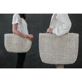 """Bonnie"" Open Weave White Palm Leaf Bags"