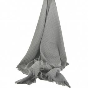 Cotton Waffle Throw in Grey Donkey Colour