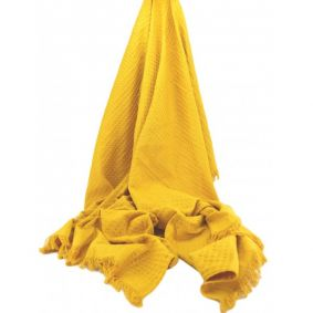 Cotton Waffle Throw in Mustard