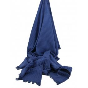 Cotton Waffle Throw in Navy
