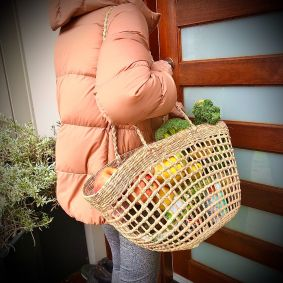 IN STOCK! Open Weave Bucket Basket in RED or GREEN AND NATURAL