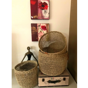 """Morgan"" Larger Seagrass Storage Baskets Set of 3"