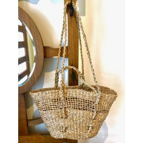 Seagrass Tapered Market Basket with Long/Short Handles