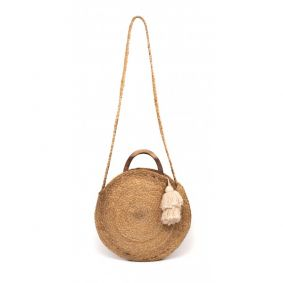 """Geena"" Round Jute Fashion Bag"
