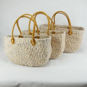 Water Hyacinth Rectangle Baskets with Suede Covered Handles - White Wash only available