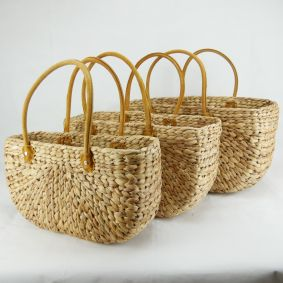 Water Hyacinth Rectangle Baskets with Suede Covered Handles - NEXT DELIVERY NOW FULLY PRE-ORDERED - FOLLOWING DELIVERY MID JANUARY ETA