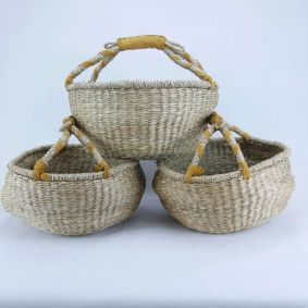 MID MAY DELIVERY  MEDIUM Round Baskets NATURAL Set of 3