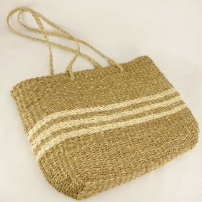 "IN STOCK MID MARCH ""Grace"" Seagrass with Palm Leaf trim Bag"