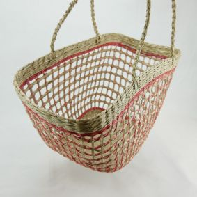 IN STOCK! Open Weave Bucket Basket in RED or GREEN