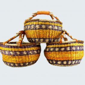 IN STOCK! MEDIUM Round Baskets Set of 3 in Autumn Colour