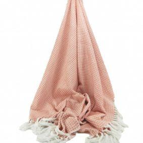 Small Diamond Cotton Throw in Orange & Cream