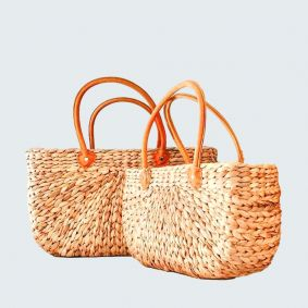 IN STOCK!  NATURAL Water  Hyacinth Rectangle Baskets SET OF 2 (MEDIUM & LARGE) with Suede Covered Handles